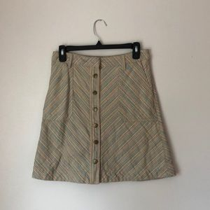 Anthropologie / Button Front Multi-Colored Skirt